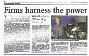 Article in Western Mail's Business in Wales pull-out on 22 January 2014 on innovation supported by the Welsh Government